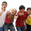 Happy group  welcoming kids or teens — Zdjęcie stockowe