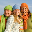 Happy group of girls with perfect straight, white, teeth, — Stockfoto