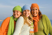 Happy group of girls with perfect straight, white, teeth, — Stock Photo