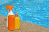 Bottles of sun protection cream or lotion for summer vacation — Stock Photo