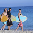 Stock Photo: Group of healthy active kids at beach with surf boards