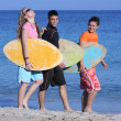 Stock Photo: Young surfers walking along beach happy and smiling