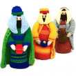 Nativity scene, the 3 wise men or kings bearing gifts, — Stock Photo