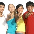 Group of diverse kids or teens pointing - 图库照片