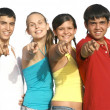 Group of diverse kids or teens pointing - Stockfoto