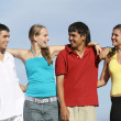 Foto de Stock  : Mixed group of diverse students, teens, teenagers or youth,