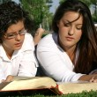 Youth or teens reading book or bible outdoors - Stock Photo