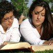 Youth or teens reading book or bible outdoors — Stock Photo