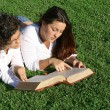 Stock Photo: Young women reading at bible camp or study group
