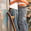 Teens in skate park, first love — Stockfoto