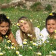 Group of hippy teens or young women - Stock Photo