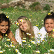 Stock Photo: Group of hippy teens or young women