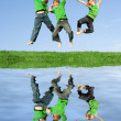 Happy kids jumping — Stock Photo