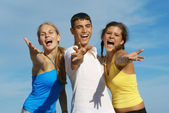 Happy group of teens or youth singing — Stock Photo