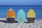 Letní prázdniny, sbírané surfovací prkna — Stock fotografie