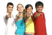 Group of diverse kids or teens pointing — Stock Photo