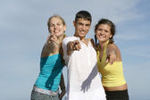 Teens pointing — Foto de Stock