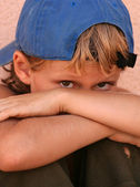 Shy lonely unhappy scared sad street kid — Stock Photo
