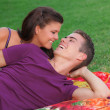 Happy healhty young couple outdoors concept for fresh breath - Stock Photo