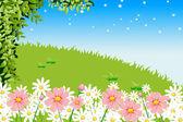 Sky garden hillside — Stock Vector