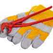 Stock Photo: Working gloves and wrenches isolated on white