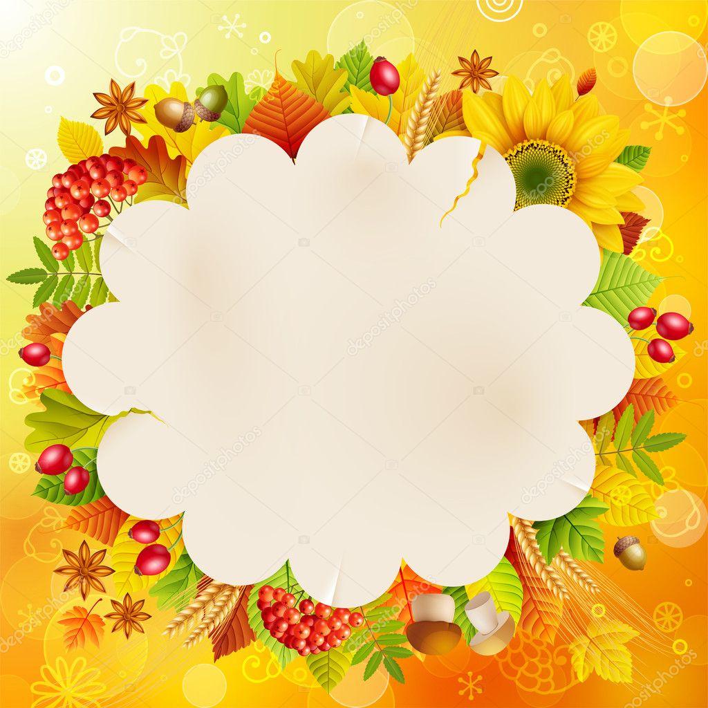 秋季复古泡沫与多彩的树叶和文本的地方.