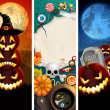 Halloween banners with pumpkins - Stock Vector