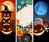 Banners de halloween com abóboras — Vetorial Stock