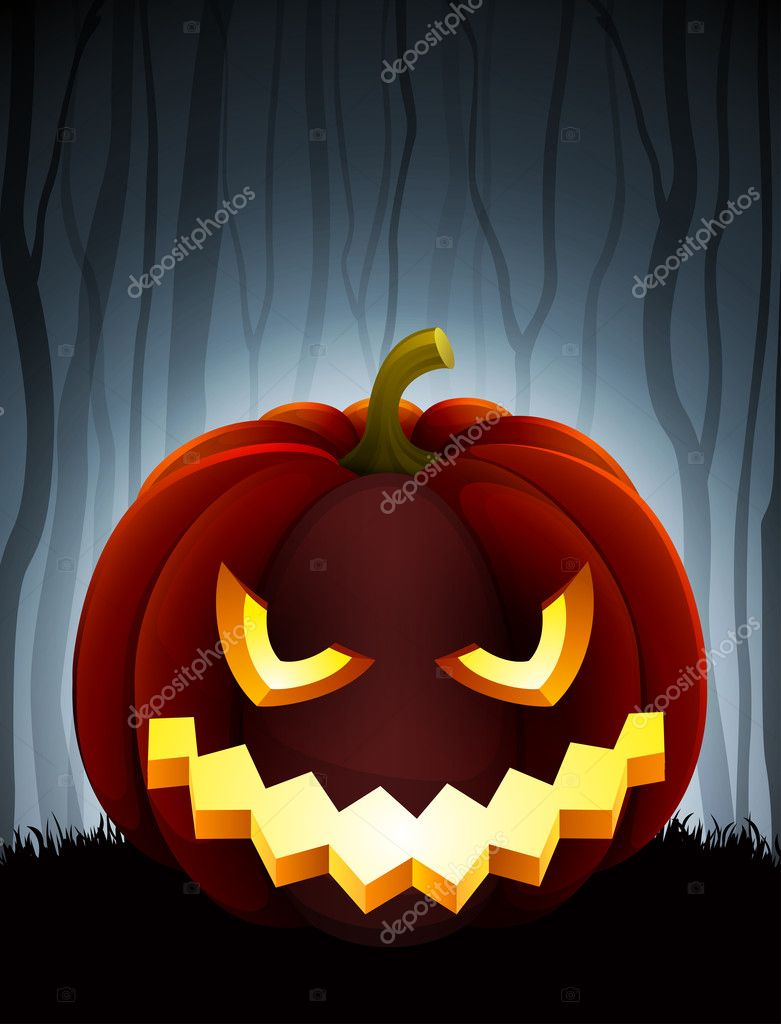 Halloween illustration with pumpkin on dark forest background.  Stock Vector #7240133