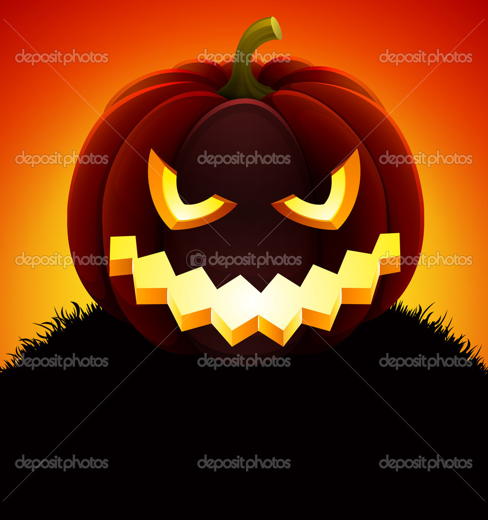 Halloween illustration with pumpkin on sky background. — Stock Vector #7240168