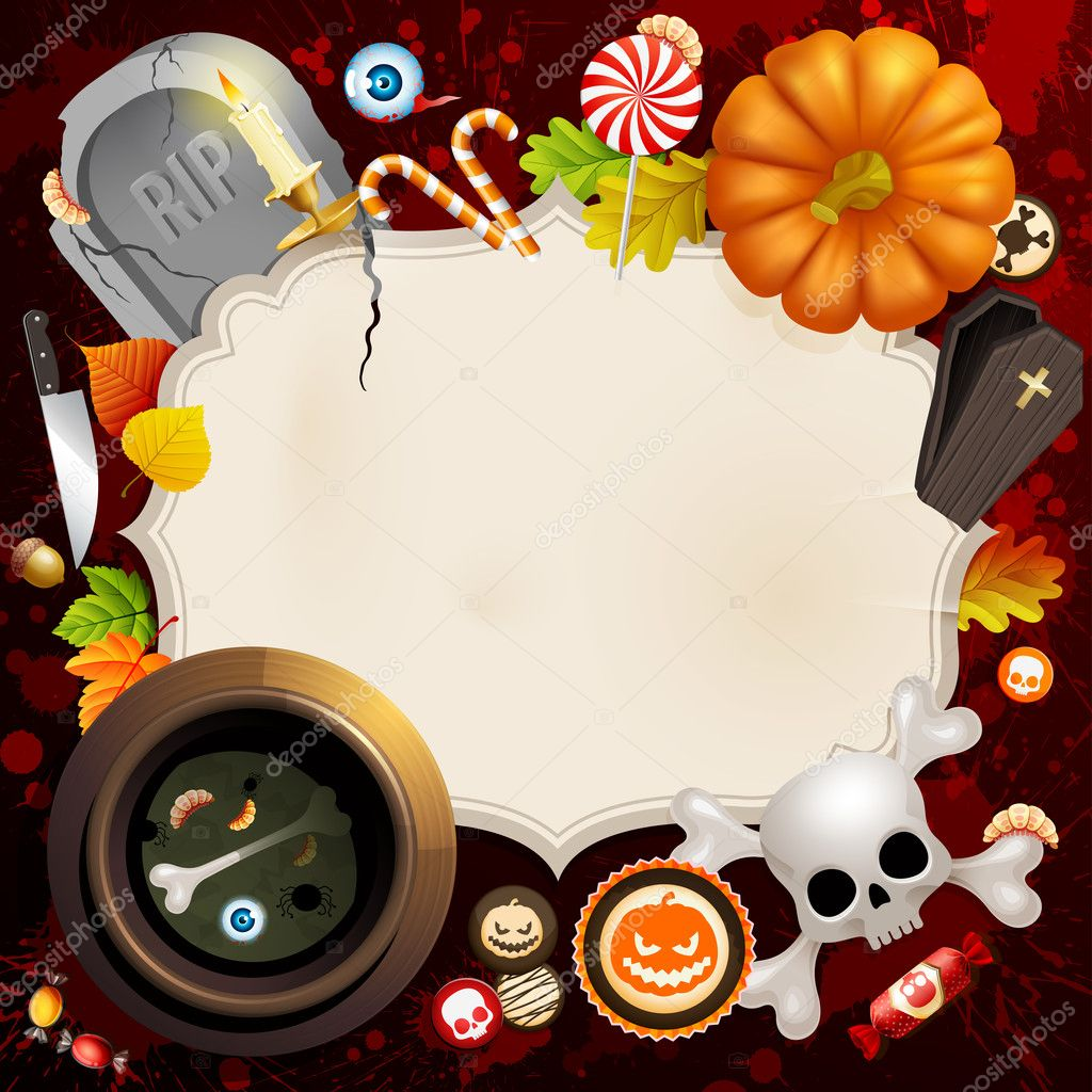 Halloween card with different objects and place for text. — Stock Vector #7240221