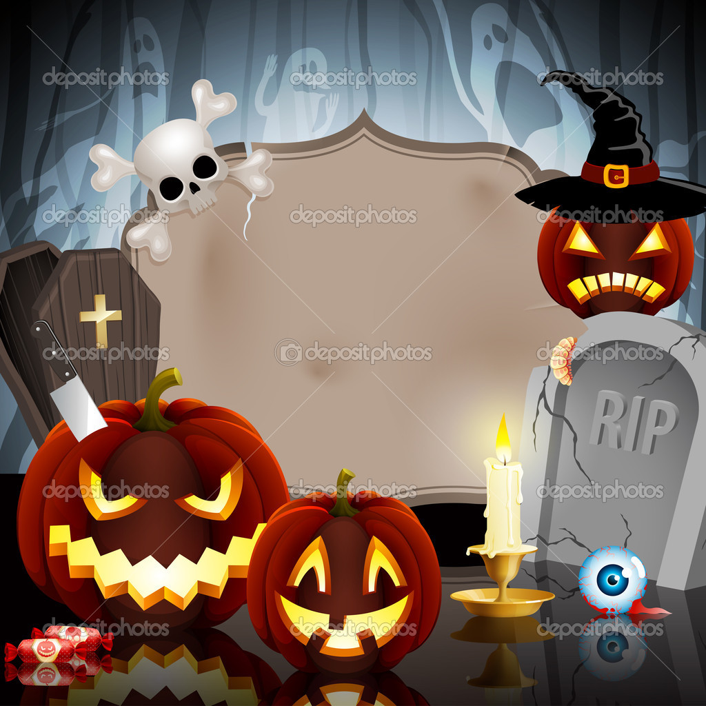 Halloween card on forest background with different objects and place for text. — Stock Vector #7240232