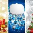Christmas banners with baubles — Vector de stock
