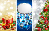 Christmas banners with baubles — Stock Vector