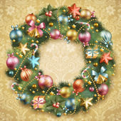 Christmas wreath with baubles — Vector de stock