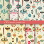 Christmas seamless retro patterns — Stock Vector