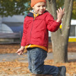Boy walking in autumn park — Stock Photo #7953035