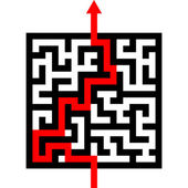 Maze with red arrow — Stock Vector