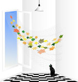 White room and black cat — Stock Vector