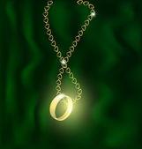 Bague en or et chaine en forme de coeur — Vecteur