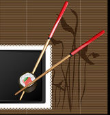 Chopsticks and sushi — Stock Vector