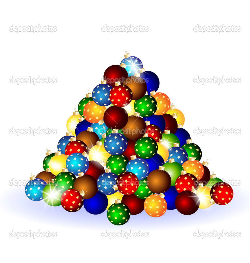 On a white background there is a conglomeration of multicolored Christmas balls — Stock Vector #7027050