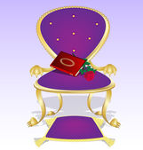 Purple armchair and red book with rose — Stock Vector