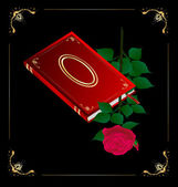 Red book and rose — Stock Vector