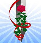 Espada y la rosa roja — Vector de stock
