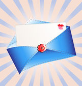 Letter in a blue envelope — Vector de stock