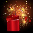 Red gift box with sparkler — Stock Vector #7421690