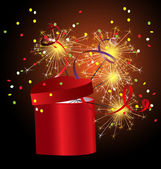 Red gift box with sparkler — Stock Vector