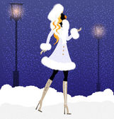 Girl and snow — Stock Vector