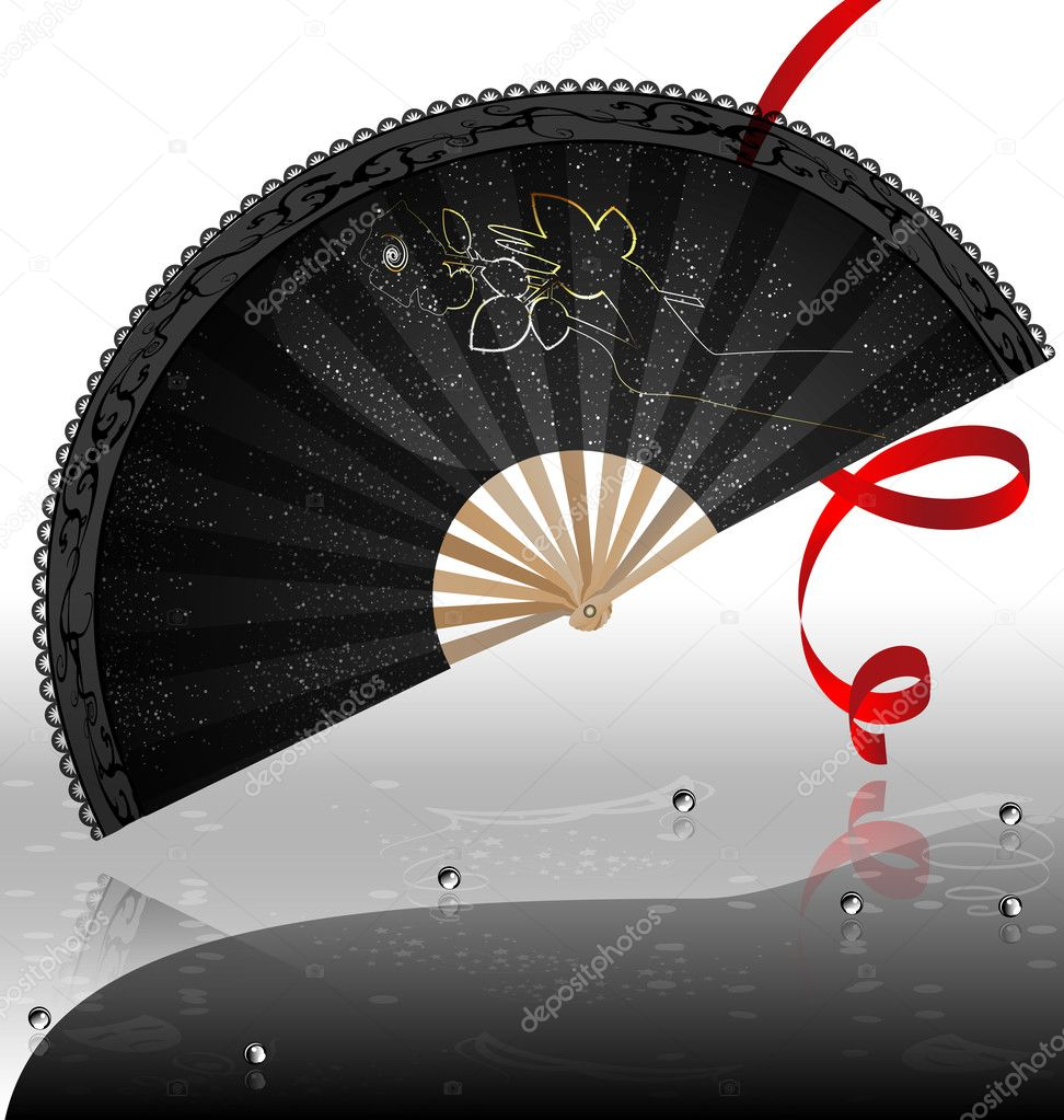 On an abstract background is a carnival black fan — Stock Vector #7941463